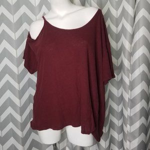 WE THE FREE maroon off the shoulder top